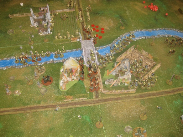 Overall view after turn six showing the pending bloodbath near the bridge.