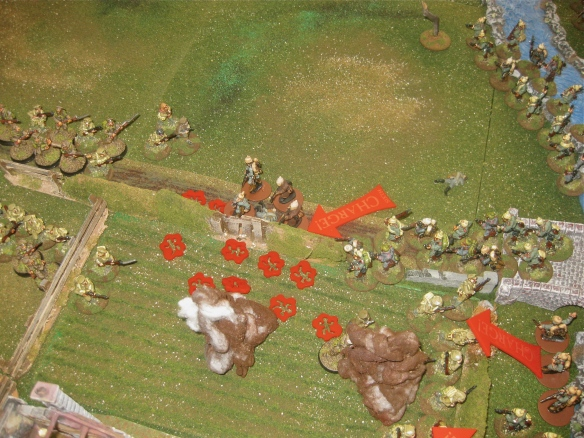 First bloody fight over the stone wall ends with a destroyed English platoon and German dead on the roadway.