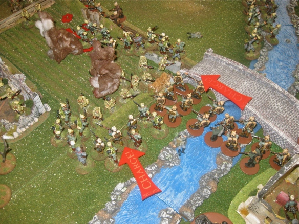 "German ""column"" crosses the river and joins in the assault on the foremost English platoon. German infantry break into the rear from the previous melee."