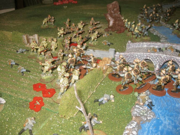 Close up of David's painted miniatures being rapidly removed from the tabletop by vicious fighting.