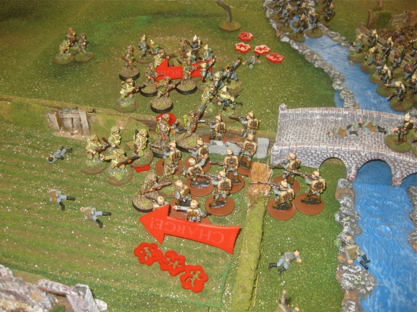 Germans surge forward and charge the English. Back to the bloody bayonet brawl.