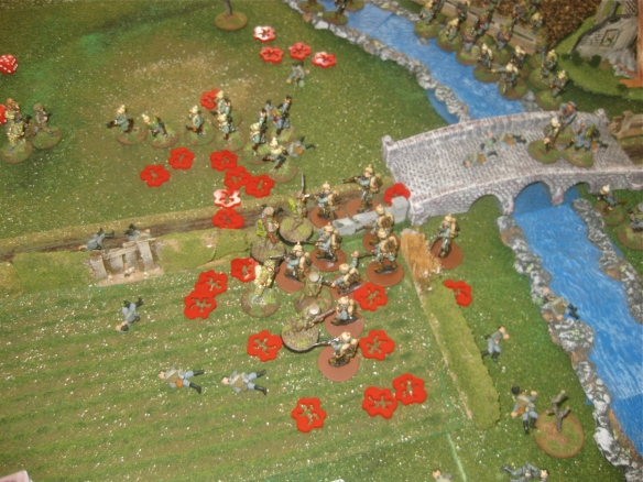 "One English platoon destroyed, another reduced to a few miniatures and captain ""Unknown"" calmly unloads his revolver into the Teutonic mob around him."