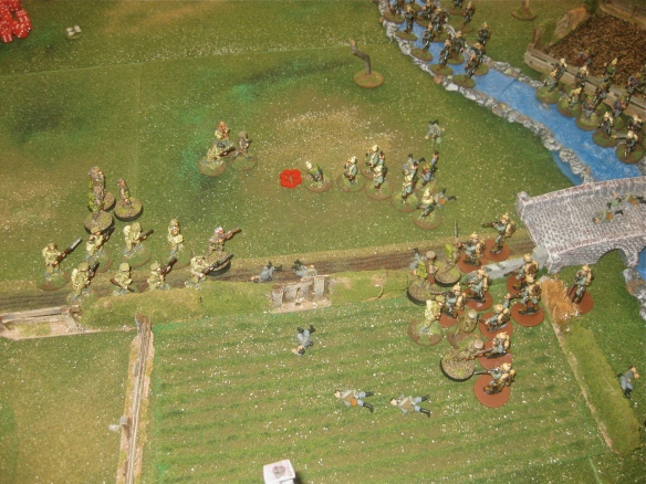 English reserve platoon and the battalion commanders advance. With pistols firing, the German suffer light losses.