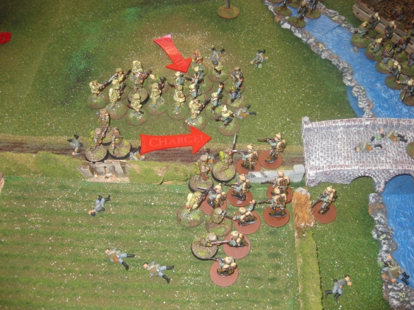 Here they come again... English bayonets lowered and charging in the stomachs of the Germans.