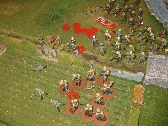 While English platoons crumple and disappear from the English army roster, their commanders beat back the Teutonic mob.