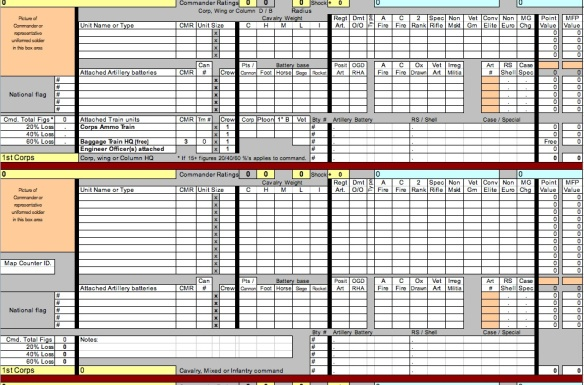 Top of a Corps level roster spreadsheet. Has Corps HQ and six command slots.