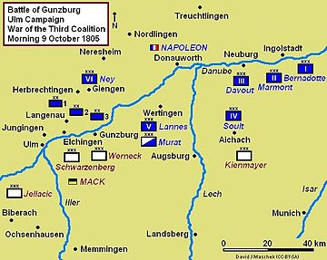 At the end of October 9th the French Grand Armee was behind the Austrians encamped at Ulm.