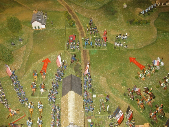 Opening French movements done, exchange of artillery fire and the French trumpets sound the charge.