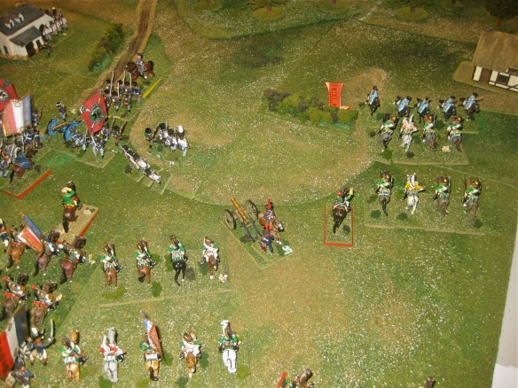 2nd Turn. the Prussian 2nd Dragoons regiment charges forward to engage the advancing French dragoons while the Prussian squares are under bombardment.