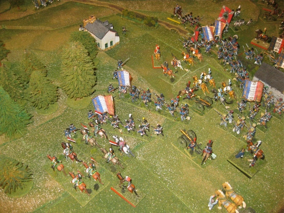 2nd turn French movement done, the French left flank advance into contact again pressuring the Prussian fusilier battalion in the woods.