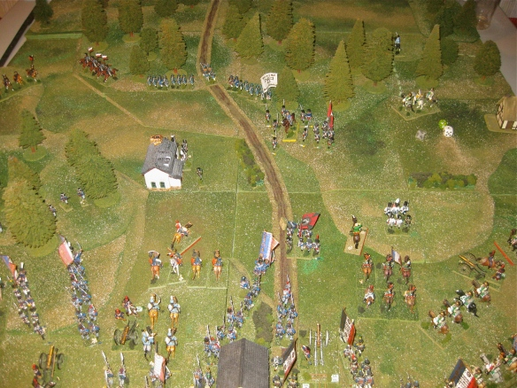 Prussian squares slowly withdraw as a French dragoon regiment chased away the Prussian 2nd Dragoons.