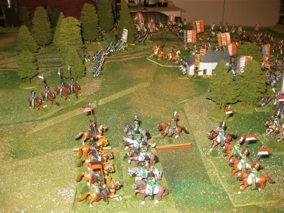 1900 hours. The French 5th Light Cavalry exit the left flank woods and are counter-charged by the Prussian 6th Uhlans (ex Lutzow).
