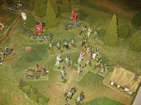 The French 9th Dragoon division has arrived before the woods. Prussian infantry battalion seek to stem their advance.