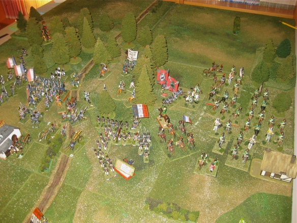 1940 hours shows the French infantry and dragoons advancing into the Prussian defensive wood position.