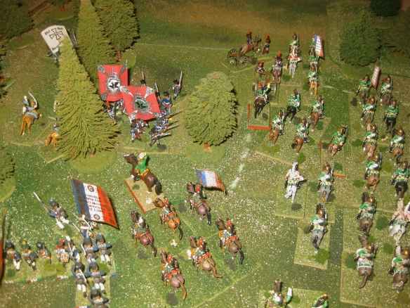 French OG Empress dragoons seek opportunity to attack the Prussian infantry.