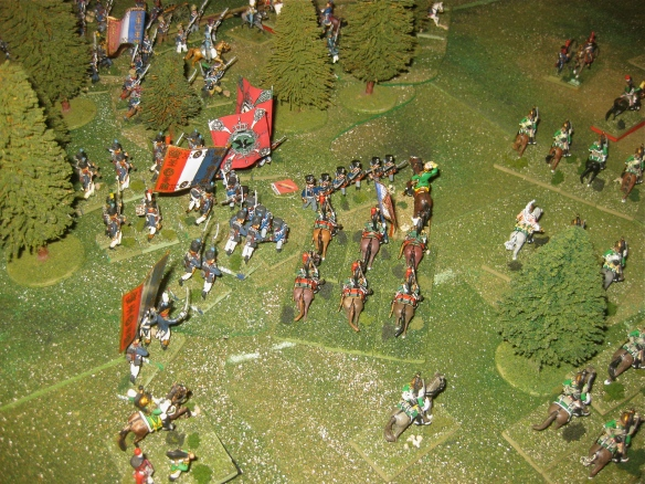 2000 hours. Empress dragoons held up while French infantry columns assault the Prussian battalions.