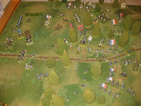 2000 hours. The view from the French left flanks showing confusion of the battle.