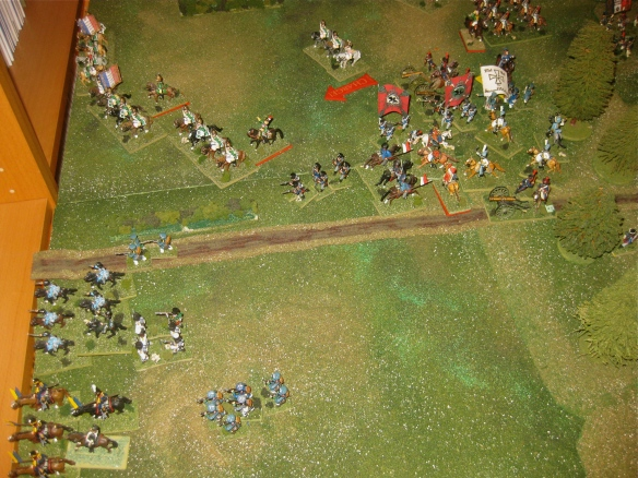 After The back and forth of the cavalry charges, the French dragoons are victorious.