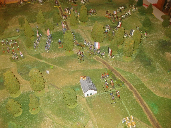 Gilly scenario end with the French right flank advancing towards Flerus and Ligny.