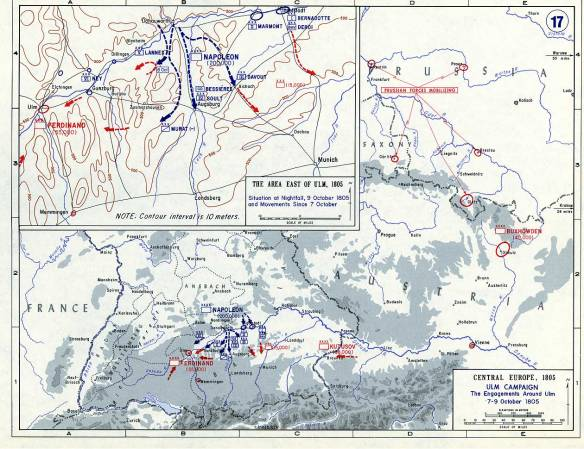 Ulm campaign map during the crossing of the Danube. Battle of Wertingen shown as the Austrian march reversal by Lannes and Murat.