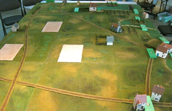 Morning wakes at 0900 hours with Austrian advanced guard and outposts spotting the French divisional command blocks entering the tabletop from right side.