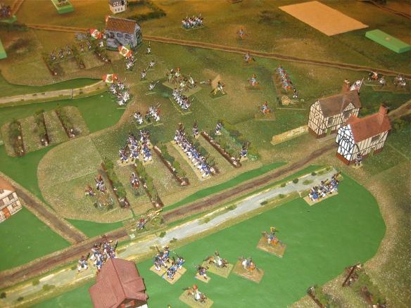 French 1st Division advances down road and through the vineyards while Sevxxx Italians confront GM Frimont's Austrians.
