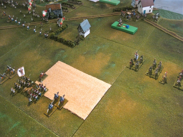 Austrian Brigade Volkmann arrives to confront the distant French light cavalry brigade of GB Sahac