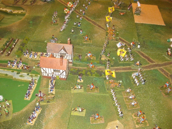 Austrians prepare battalion assault columns and push forward their skirmishers. Both sides exchange artillery bombardments.
