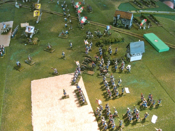 French left flank with divisions XXX start to wheel and advance towards the weak Austrian VIII Corps flank.