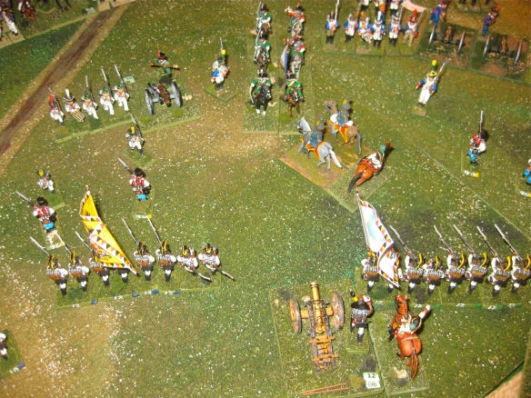 A brave Austrian hussar detachment tries to block the charge of a column of French chasseurs a' cheval.