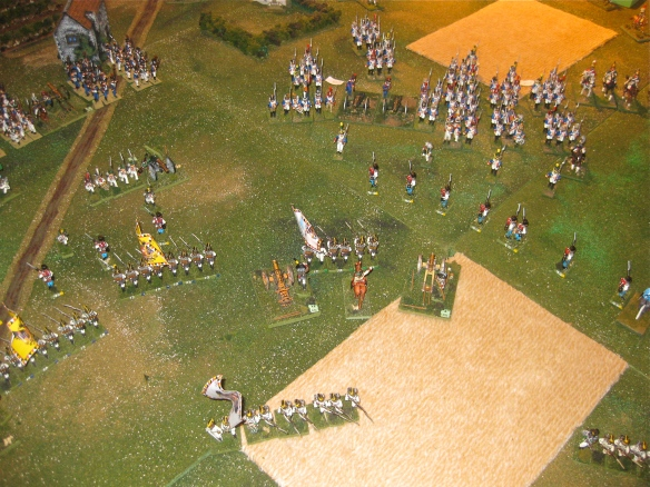 On the Austrian right the French masses continue their advance. The French column of chasseurs was routed by artillery fire.