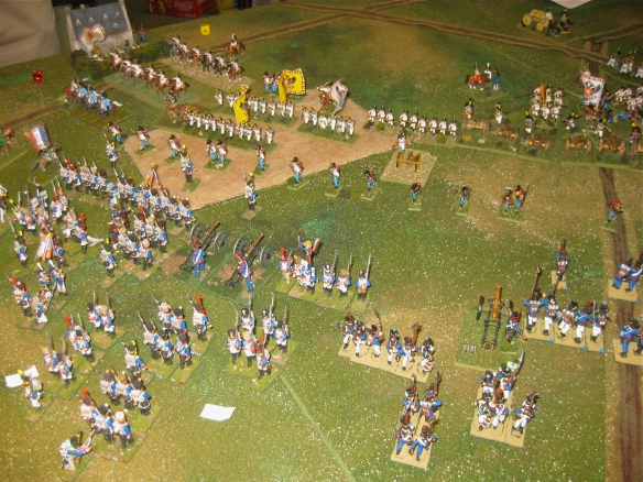 Facing the massed austrian cannon, the French XX division slowly retires to open the range.