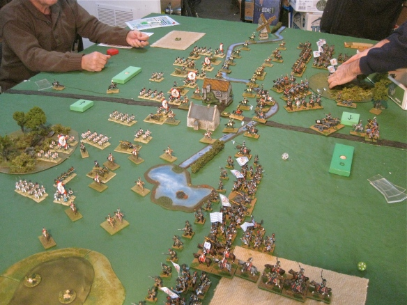 Table B. Bavarian infantry commands (divisions) advance and bring more miniatures on to the tabletop.