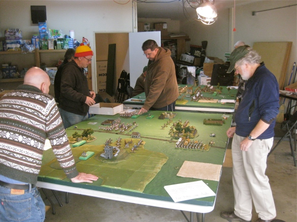 General view of Table A & B at Bob's monthly game day. Austrian vs. French battle in foreground, Dutch vs. Bavarian in background.