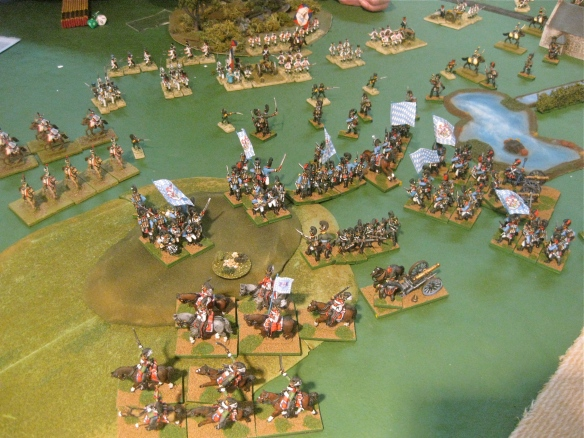 Table B. Bavarian left flank tops the hill in square formations vs. French cavalry.