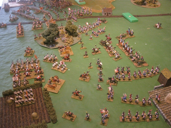 Table A. Massed French infantry columns march against the weak Austrian right flank. Lurking wooden block is French cuirassiers waiting their orders.