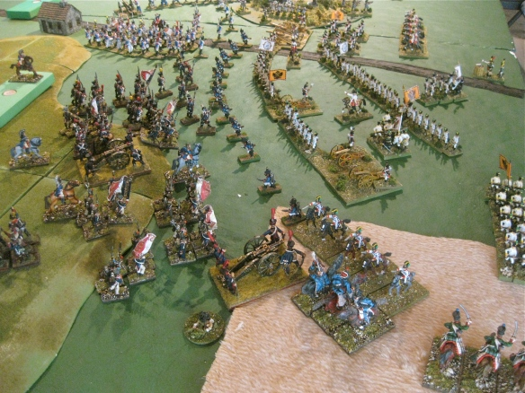 Table A. More French infantry columns crash into the massed Austrian left flank.