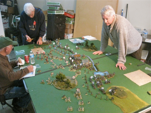 Table B. WR commands the central Bavarian division as Bob maneuvers the Bavarian right division. Ty looks on playing his Dutch with Andy.