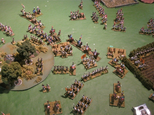 Table A. Swirling French light cavalry charging among right flank Austrian infantry.