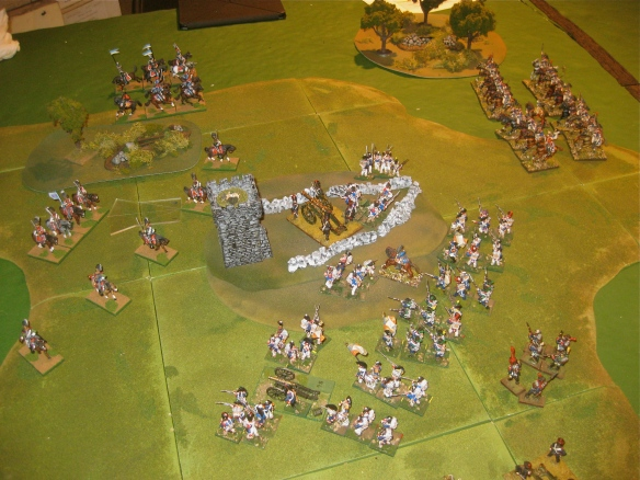 Table A. Are the Austrians saved? The zonal transferred Bavarian light cavalry arrives behind the French right flank. Their reserve French infantry and cuirassier divisions are turned to face the small Bavarian force.
