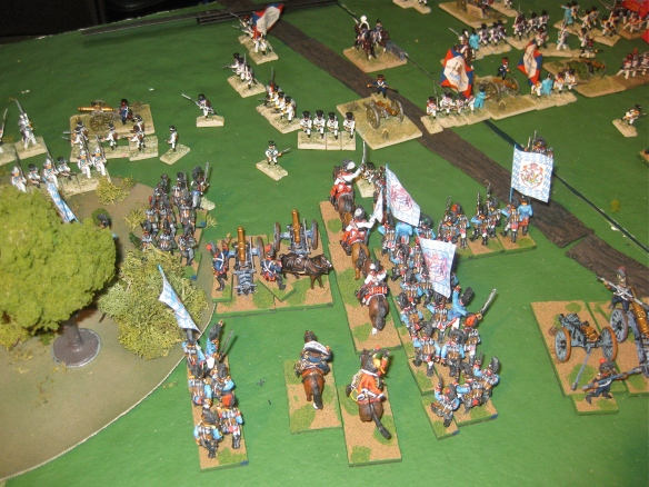 Table B. A narrow column of Bavarian dragoons sound their charge against the hinge of the Dutch position.