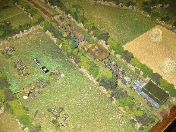 "The German road bound and laden convey forms up and starts the scenario moving 8"" every German turn."