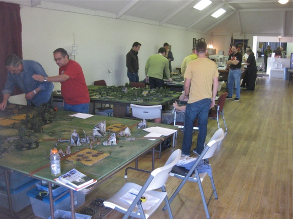 General view of the convention in action, WR's FoW scenarios on second table at left.