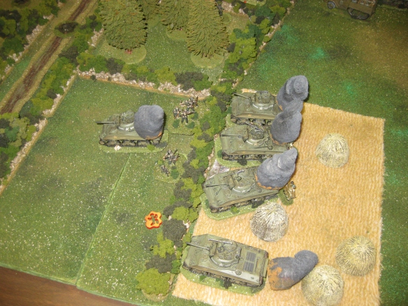 Another M4 Sherman assault ends in total loss. Those SS Panzergrenadiers know their business.