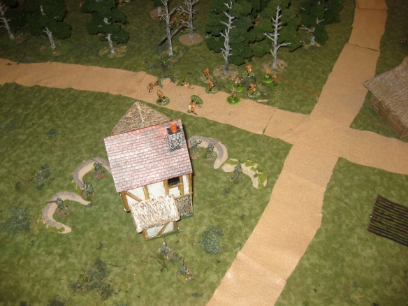 Russian squad exits the friendly woods greeted by German mausers.