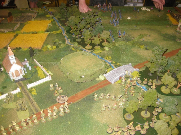 View of the English advance into the nearby woods.