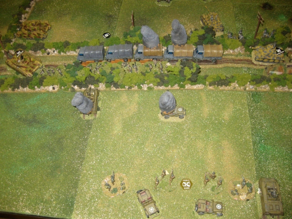 The swift German platoon counterattack. Another platoon disembarked and assaulted the American Co. command headquarter teams. One sharp assault round and the Americans withdraw.