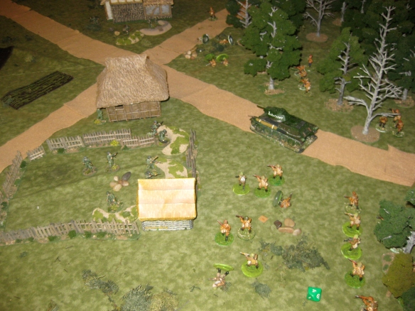 "T-34 rumbles down the ""road"" while another Russian squad assaults the peasant farm."