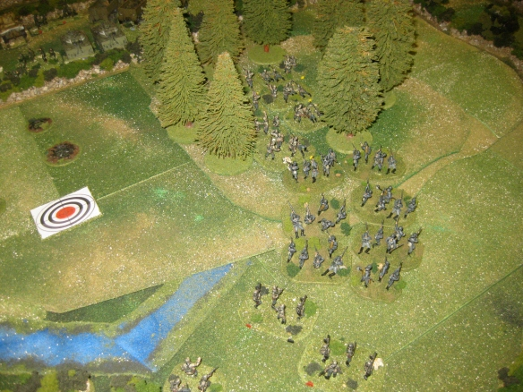 Close up of the German platoons advancing into the murky woods.