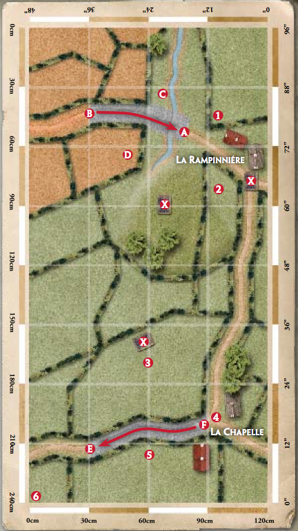 Roncey Pocket scenario map from FoW Cobra supplement. Note the two German columns are going in different directions.